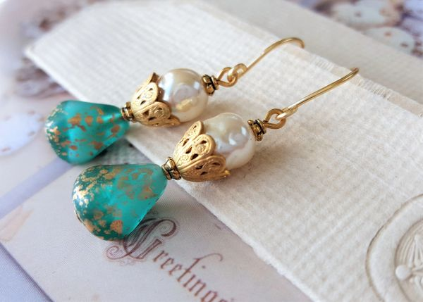 ELIANNA - Turquoise Glass and Pearl Earrings