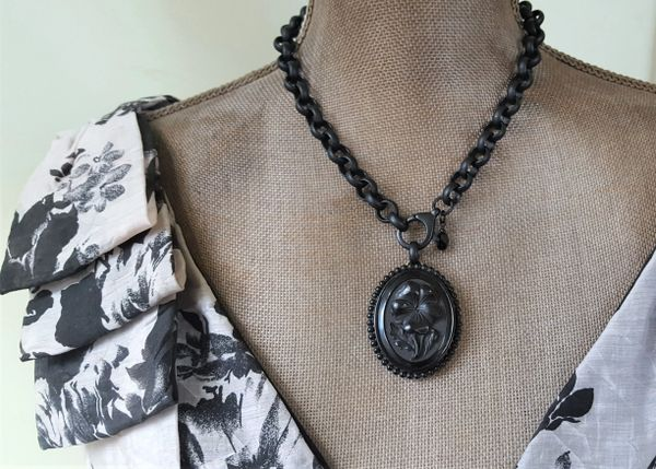 Black Floral Cameo, Victorian Mourning Necklace