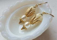 Carved Tulip and Pearl Drop Earrings