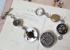 JUDI - Antique Button Charm Bracelet
