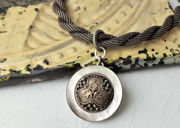 TRIAD - Antique Button Pendant Necklace