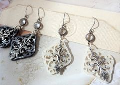 Crystal and Filigree Lucite Earrings