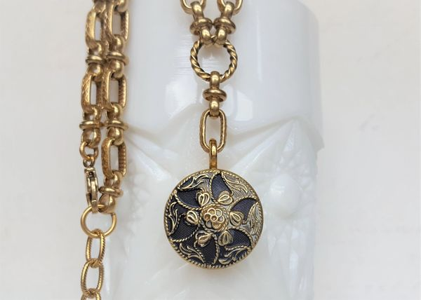 RORY - Antique Button Necklace, Denim Blue