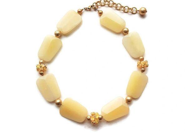 Chunky, Lemon Yellow Jade Necklace