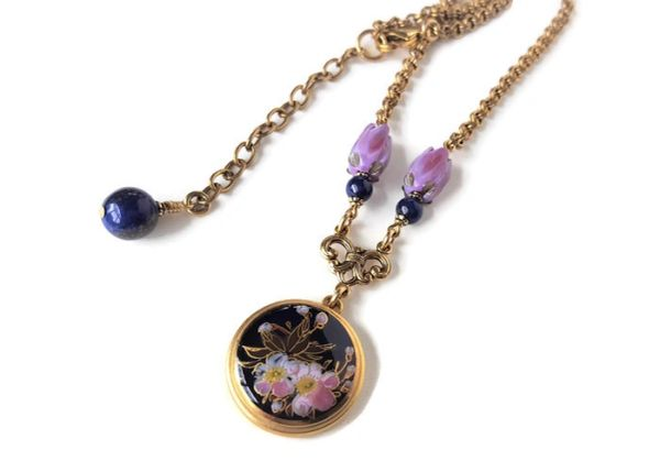 Satsuma Button Necklace, Cobalt with Iris