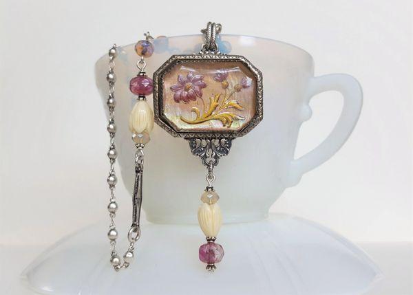 DELIA - Antique Floral Necklace, Assemblage