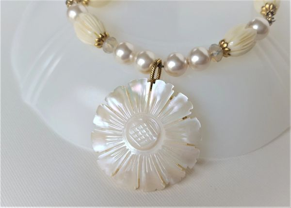 KARIN - Carved, Mother-of-Pearl Necklace