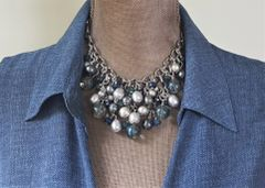 DENA - Ocean Blue Beaded Bib Necklace