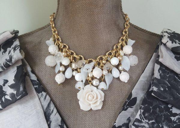 JENN - Cream Rose Bib Necklace