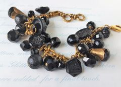 CORA - Antique Jet Glass Bracelet