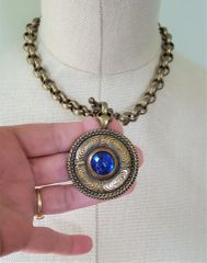 KARA - Sapphire Blue Antique Button Necklace