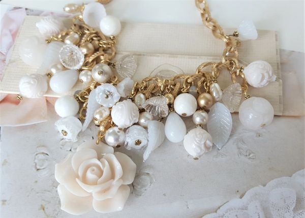 JENN - Cream Rose Bib Necklace