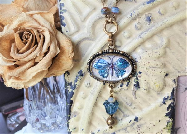 BLEU Butterfly - Intaglio Necklace