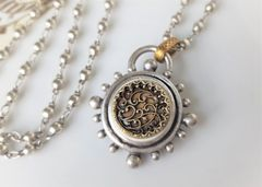 French SCROLL - Long Antique Button Necklace