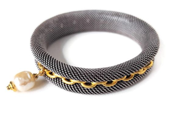 The Silver and Gold Mesh Metal Bracelet