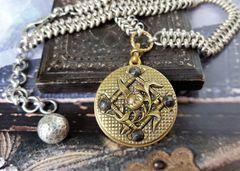 The Four Corners - Antique Button Necklace