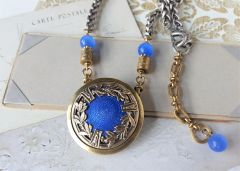 HELENA - French Enamel Antique Button Necklace