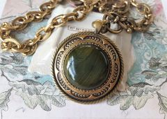 OLIVIA - Green Marbled Antique Button Statement Necklace