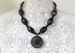 ONA - Black Bakelite Statement Necklace