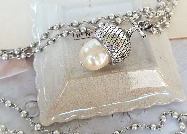 The Pearl Acorn Necklace