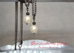 PEARL and Pave - Baroque Pearl Drop Necklace, Long