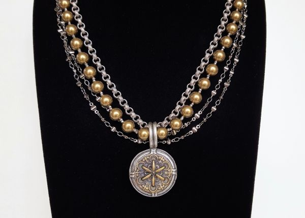 RACHELE - Multi Chain and Gold Pearl Necklace