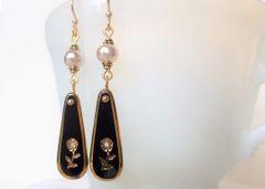 LIA - Black Glass Intaglio and Pearl Earrings