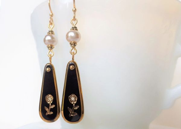 LIA - Black Glass Intaglio and Pearl Earrings
