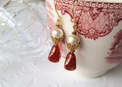SCARLET - Red Opaline Drop Earrings