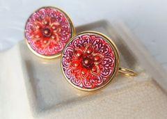 FIORE - Red Czech Glass Earrings