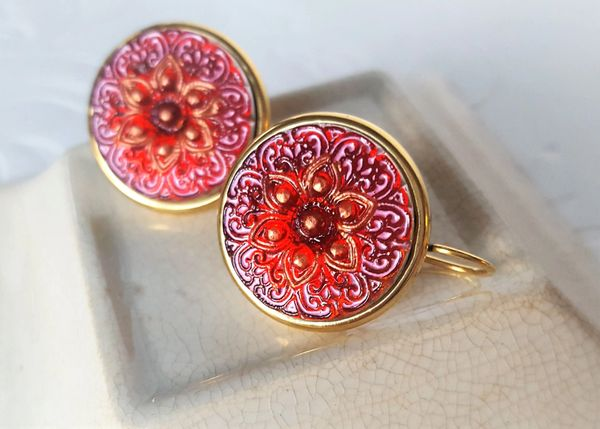 FIORE - Red Czech Glass Earrings