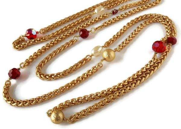 Long Beaded Infinity Necklace, RED