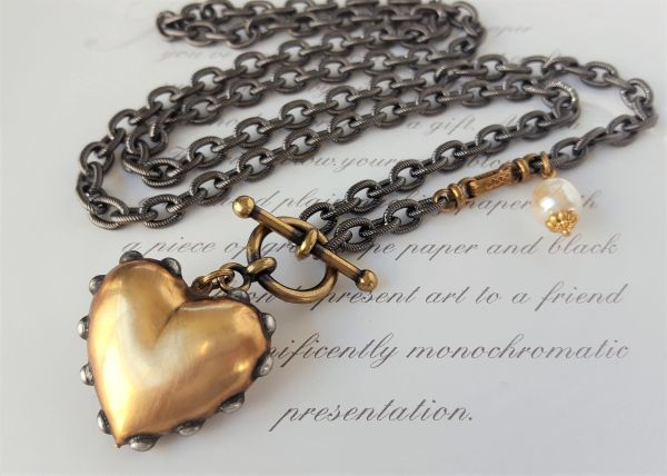 HEART O' GOLD - Chunky Gold Heart Necklace, Long