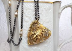 FILIGREE HEART - Long, Pearl Infused Heart Necklace