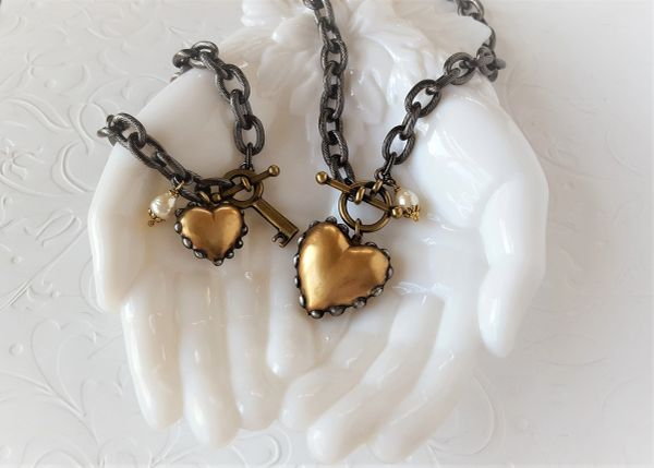 2 PC. SET, Heart O' GOLD Necklace and Bracelet