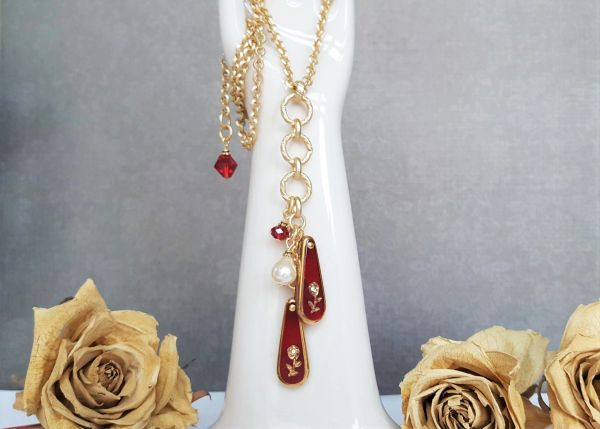 Red Glass Intaglio, Y Necklace