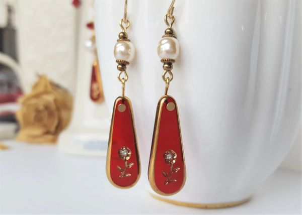 Red Glass Intaglio and Pearl Drop Earrings