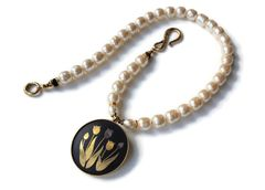 HIMARI - Japanese Damascene and Baroque Pearl Necklace