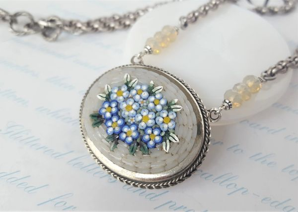 Forget-Me Not - Floral Micro Mosaic Necklace