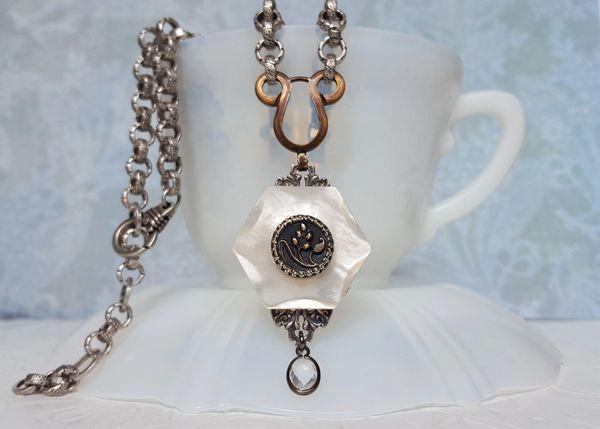 TATUM - Antique Button Necklace