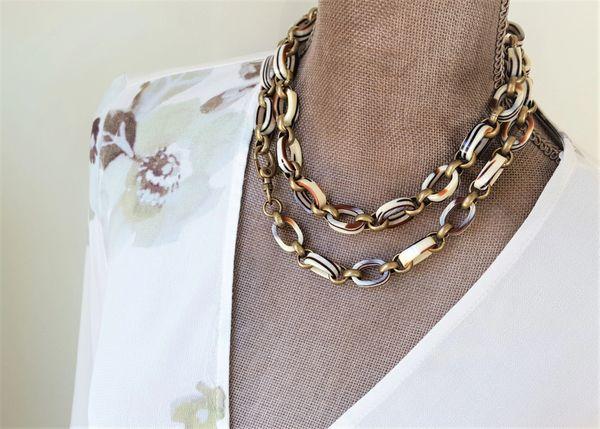 Vintage Lucite Chain, Long Wrap Necklace