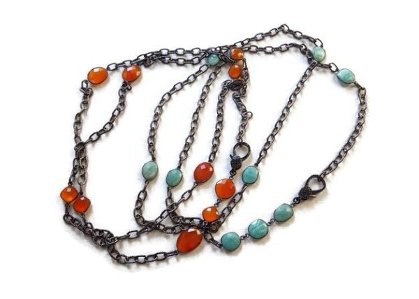 DELANEY - Semi Precious Bezel Chain, Layering Necklace