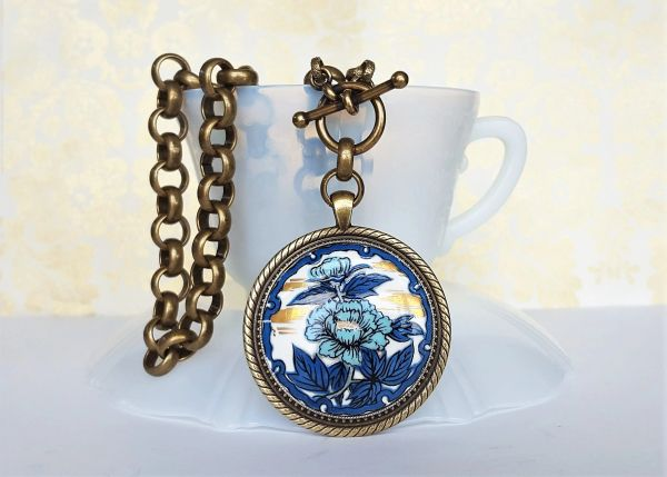 KATANI - Hand Painted, Blue Floral Necklace