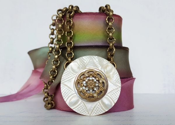 MARCE - Antique Button Necklace
