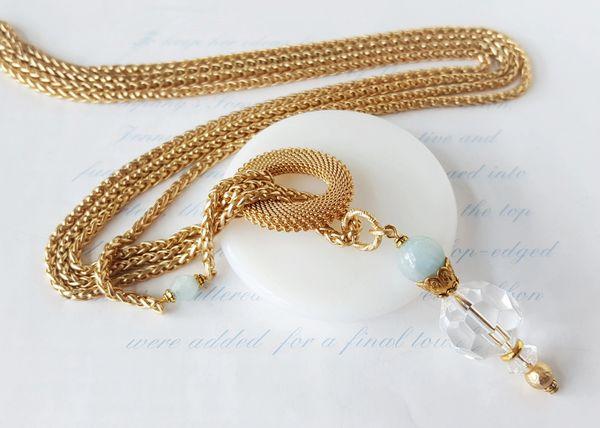 ISLE - Crystal and Aquamarine Pendant, Lariat Necklace