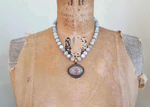ELOISE - Antique Floral Intaglio Necklace