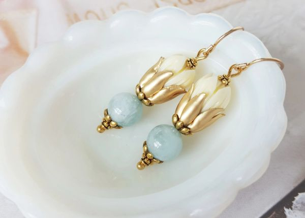 Carved Tulip and Aquamarine Earrings