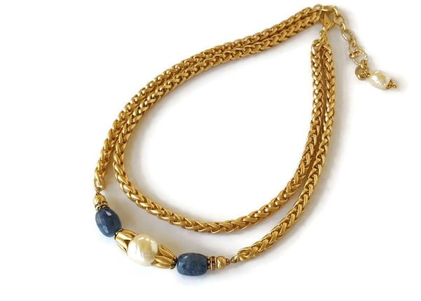 ANDRA - Denim Blue Jade and Baroque Pearl Necklace