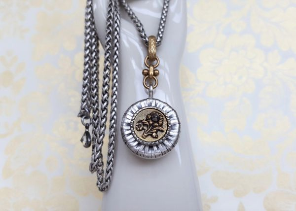 HELENE - Antique Button Necklace