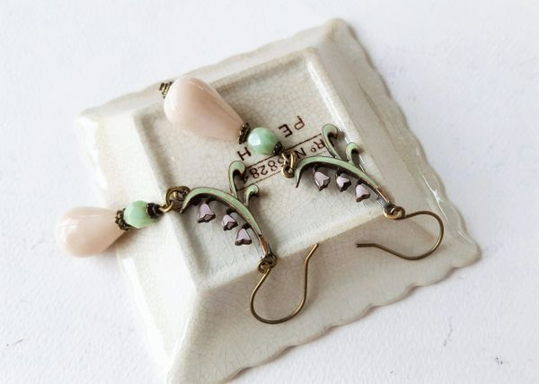 LILY - Pink and Jadeite Czech Glass Earrings